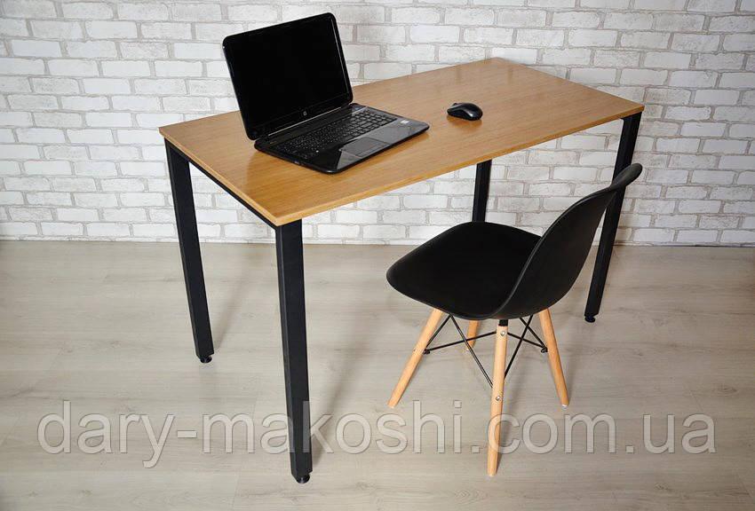 Компьютерный стол Тавол КС 8.5 140 см х 70 см шпон натурального дуба + металл Натуральный/Черный
