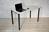 Стол Тавол КС 8.5 металл опоры черные 120смх60смх75см ДСП 16мм Белый/Черный