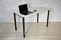 Стол Тавол КС 8.5 металл опоры черные 140смх60смх75см ДСП 16мм Белый/Черный
