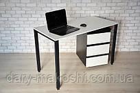 Стол Тавол КС 8.5 с мобильной тумбой металл опоры белые 140смх60смх75см ДСП 16 мм Белый/Черный