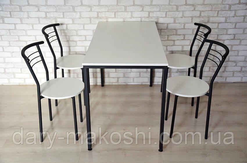 Комплект Тавол КС 8.5 + 4 стула 140смх70смх75см Белый/Черный
