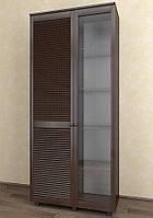 Витрина с жалюзийными дверями из натурального дерева Тавол Сиеко 2Д2С4ПОЛС 1120х380х1770 Венге