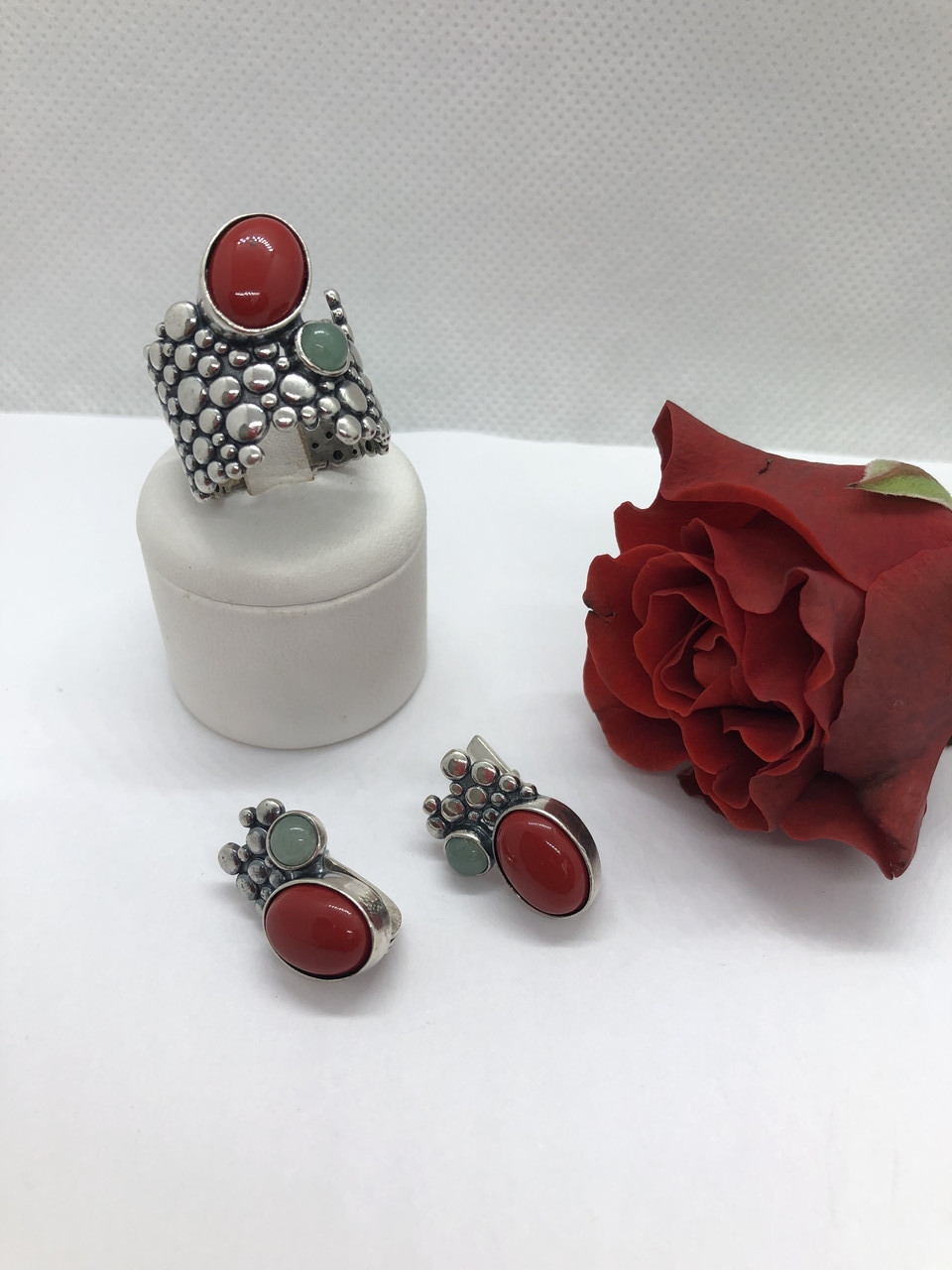 Комплект серебряных украшений Природа коралл от Ирида-В