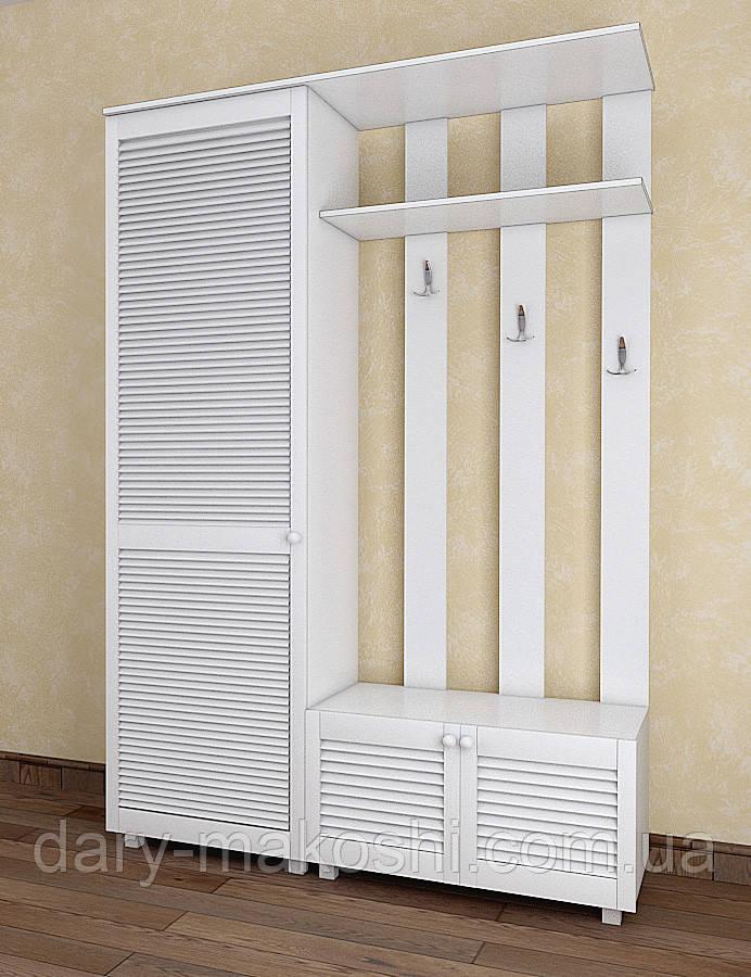 Прихожая с жалюзийными дверями из дерева Тавол Сиеко ПР13Д 1400х450х2080 Белый