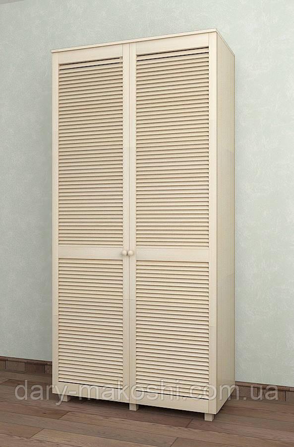Шкаф с жалюзийными дверями из натурального дерева Тавол Сиеко 2Д2СК 1000х450х2080 Молочный