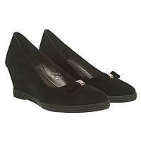 Туфлі жіночі замшеві чорні на танкетці Stalo totti 40