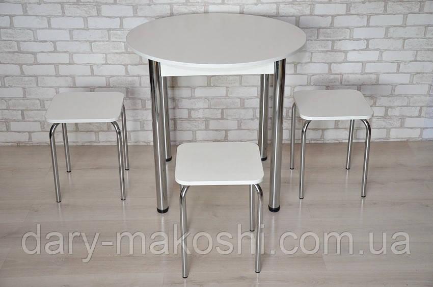 Круглый стол Тавол Крег D800 ножки хром Белый + 3 табуретки
