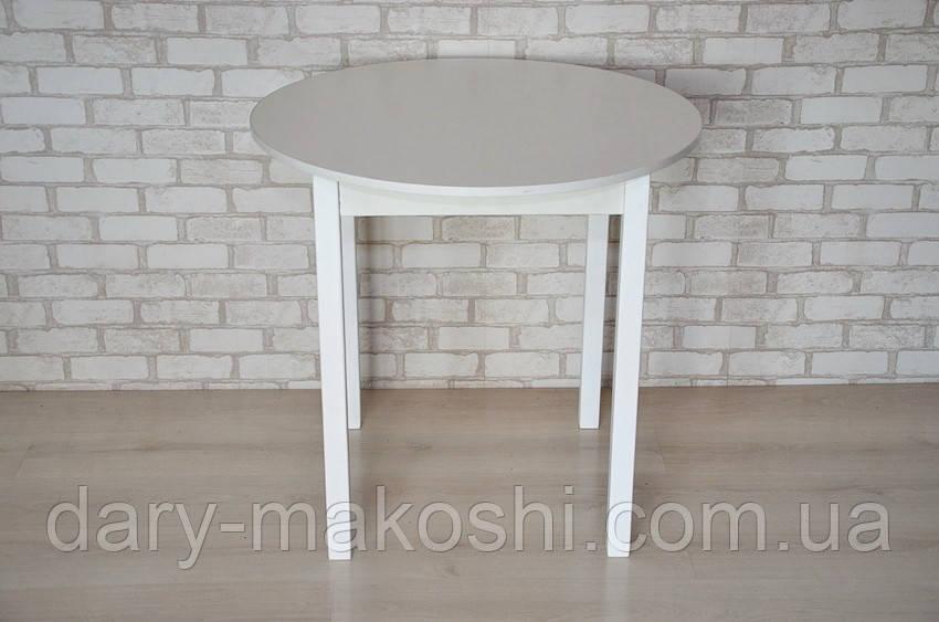 Круглый стол Тавол Крег D600 ножки прямые деревянные Белый