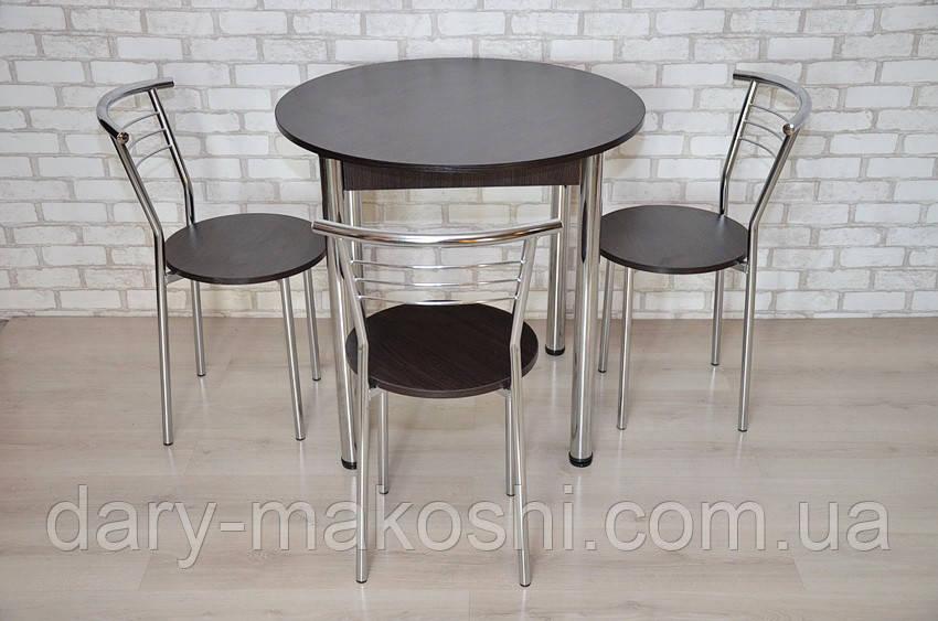 Круглый стол Тавол Крег D800 ножки хром Венге + 3 стула
