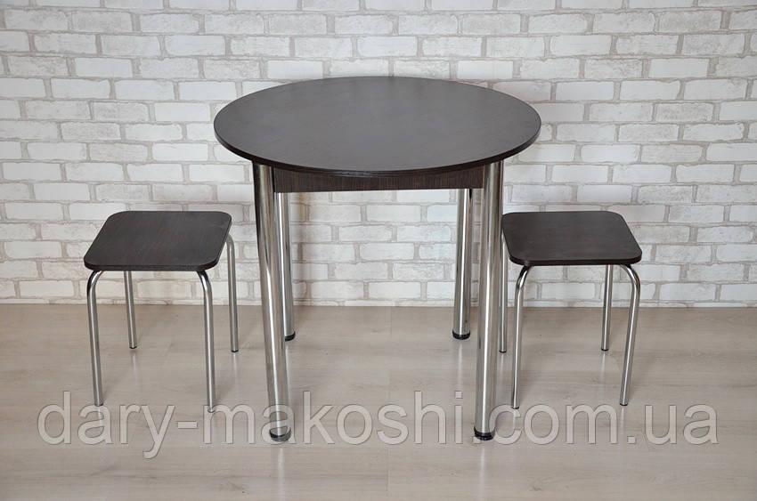 Круглый стол Тавол Крег D800 ножки хром Венге + 2 табуретки
