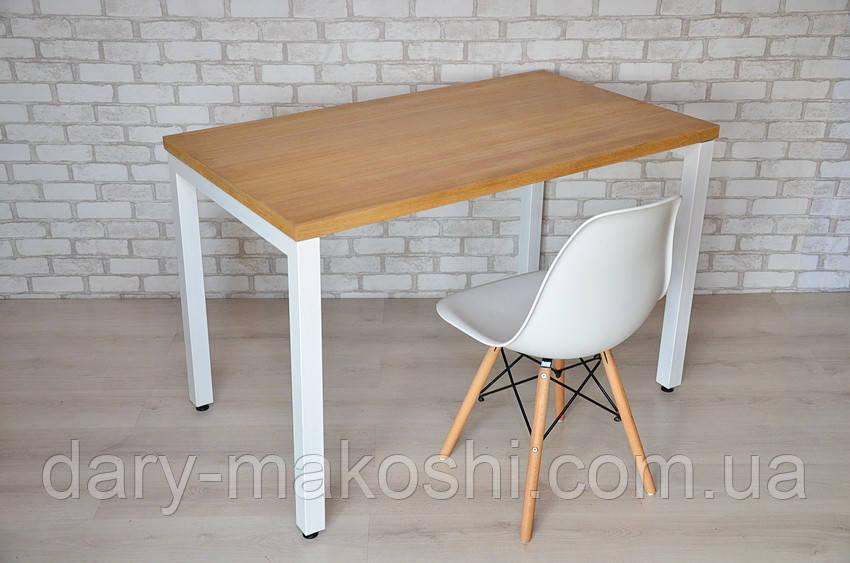 Компьютерный стол Тавол Фурнер 120 см х 70 см шпон натурального дуба + металл Натуральный/Белый