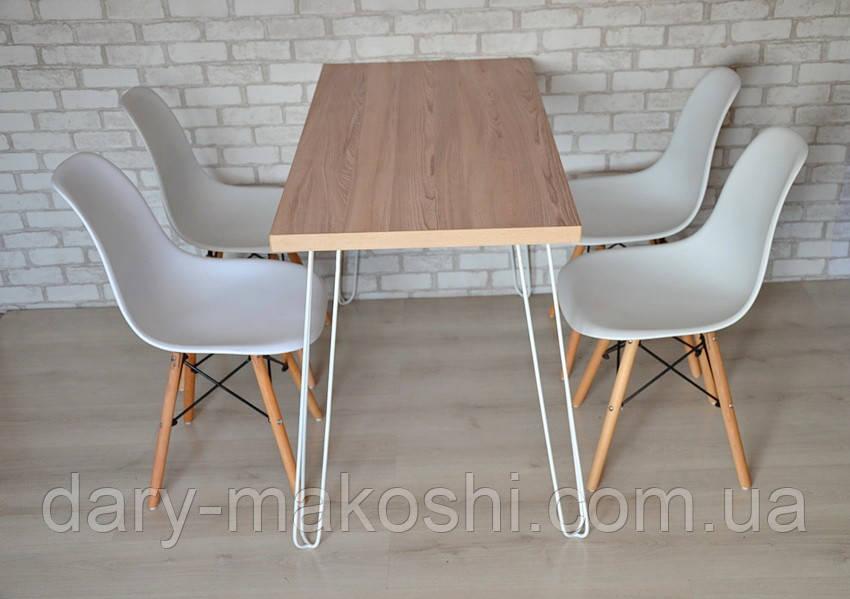 Стол Тавол Мирент 120см х 60см Ясень/Белый + 4 стула