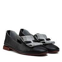 Туфлі жіночі шкіряні чорні на товстому каблуці 36