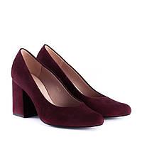 Туфлі жіночі замшеві вишневі на товтому каблуці Sala 36