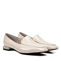 Туфлі жіночі шкіряні лакові бежеві на низькому каблуку 36