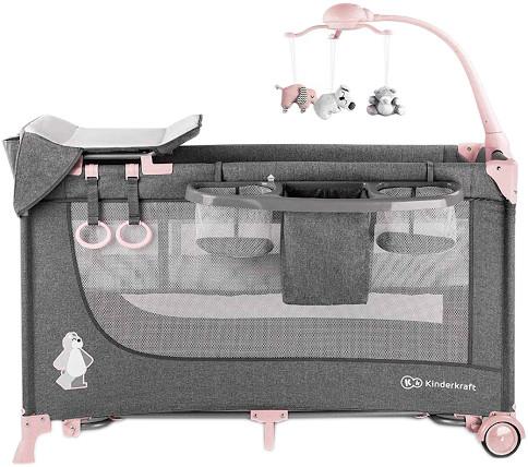 Детский большой манеж-кровать Kinderkraft Joy с аксессуарами pink