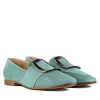 Туфлі жіночі замшеві зелені на низькому каблуку 40