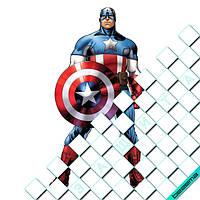 Термонаклейки на одежду Капитан Америка [Свой размер и материалы в ассортименте]