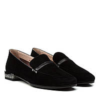 Туфлі жіночі замшеві чорні на низькому каблуку Geronea 36