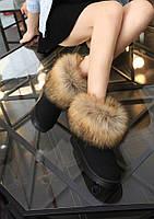 Замшевые сапоги  угги с натуральным мехом лисы, фото 1