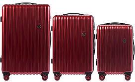 Набор поликарбонатных чемоданов 3 в 1 Wings PC 5223 на 4 сдвоенных колесах Бордовый (Blood red)
