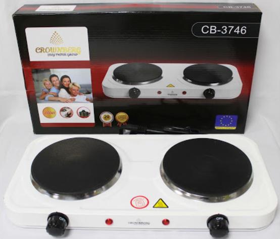 Двухконфорочная электроплита дисковая настольная электрическая плита Crownberg CB-3746 2000W