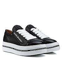 Туфлі жіночі шкіряні чорні на високій платформі 39