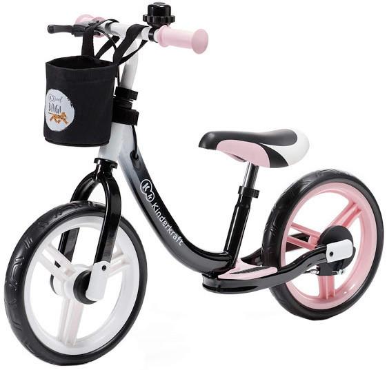 Детский беговел с корзиной и ручным тормозом Kinderkraft Space pink