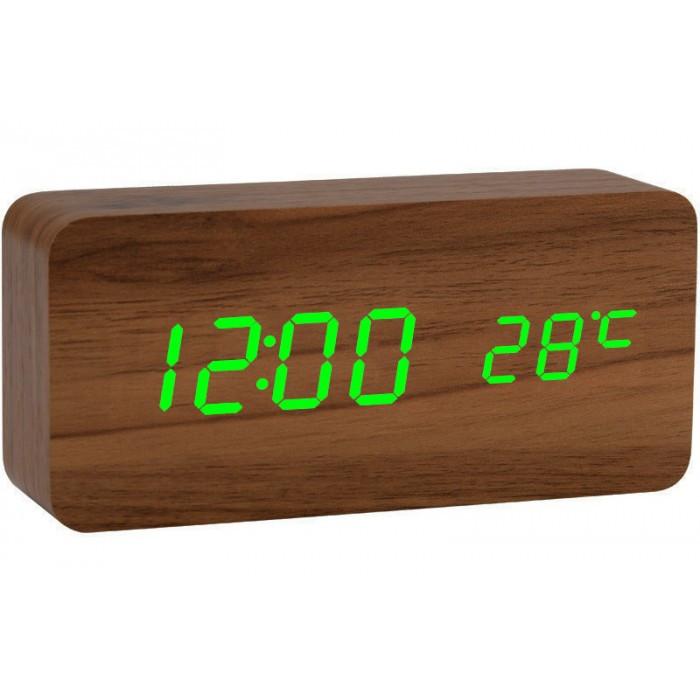 Дерев'яні Настільні годинник VST-862 з термометром коричневе дерево (зелена підсвітка)