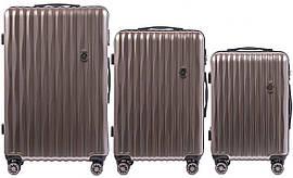 Набор поликарбонатных чемоданов 3 в 1 Wings PC 5223 на 4 сдвоенных колесах Бронзовый (Bronze)