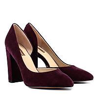 Туфлі жіночі замшеві сливові на високому каблуку 39
