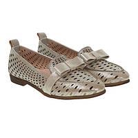 Туфлі жіночі шкіряні бежеві на низькому каблуку Phany 38