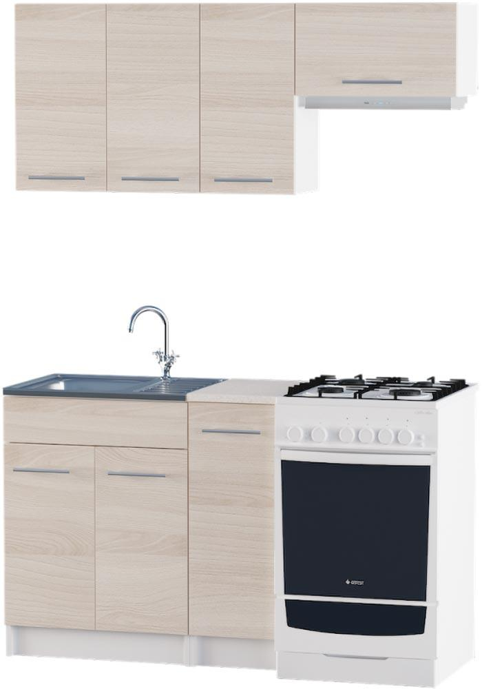 Кухня Эко набор 1.4 м ЭВЕРЕСТ Белый + Шимо светлый, фото 1