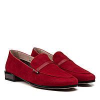 Туфлі жіночі замшеві червоні на низькому каблуку Geronea 38