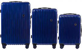 Набор поликарбонат чемоданов 3 в 1 Wings PC 5223 на 4 сдвоенных колесах Темно-синий (Dark Blue)