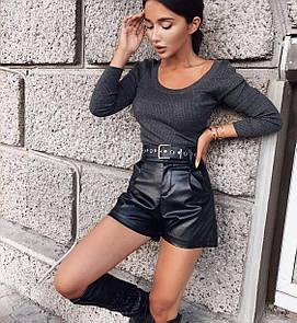 Женские кожаные черные шортики с высокой посадкой