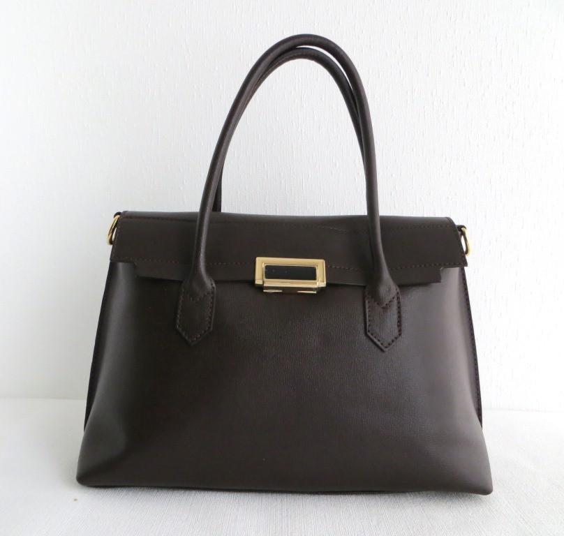Удобная женская сумка 100% натуральная кожа. Коричневый