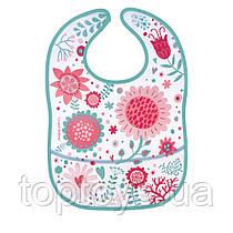Слинявчик пластиковий з кишенею Canpol babies Wild Nature рожевий (9/234_pin)