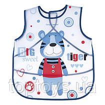 Пластиковий нагрудник Canpol Babies Puppets Тигр синій (9/236_blu)