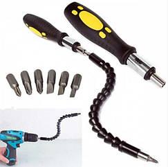 Отвертка Snake Bit с гибкой  насадкой-удлинителем для отвертки или дрели