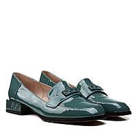 Туфлі жіночі шкіряні лакові бірюзові на низькому каблуці 37