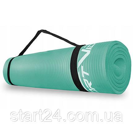 Коврик (мат) для йоги и фитнеса SportVida NBR 1 см SV-HK0067 Mint, фото 2