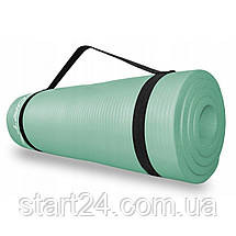 Коврик (мат) для йоги и фитнеса SportVida NBR 1.5 см SV-HK0074 Mint, фото 2