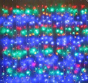 Светодиодная гирлянда штора Red/Green/Blue/Yellow водопад 3м * 2м 480LED NEW IP44 белый провод ECOLEND