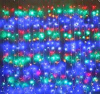 Светодиодная гирлянда штора Red/Green/Blue/Yellow водопад 3м * 2м 480LED NEW IP44 белый провод ECOLEND, фото 1