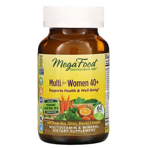 Мультивитамины для женщин 40+, Multi for Women 40+, MegaFood, 60 таблеток, фото 2