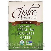 Choice Organic Teas, Green Tea, Organic Premium Japanese Green, 16 Tea Bags, 1.12 oz (32 g)