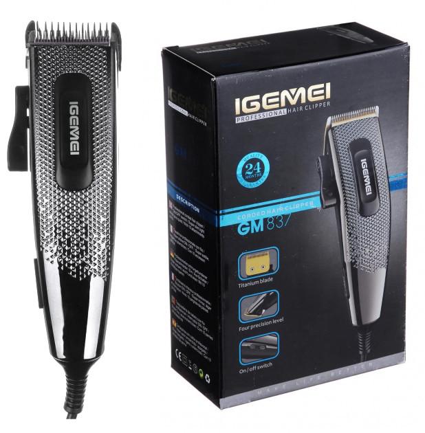 Машинка для стрижки волос GEMEI GM-837 PRO с чехлом и титановыми ножами 10 насадок