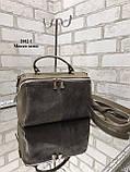 Жіноча сумочка комбінована нат.замша/кожзам 2042-1 без бренду, фото 2