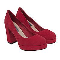 Туфлі жіночі замшеві малинові на товстому каблуку 36